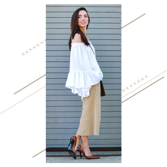 Off-Shoulder Top + Culottes Look 2