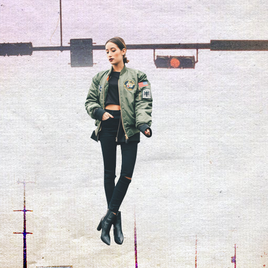 Style Equation: Bomber Jacket + Denim Pants Look 1