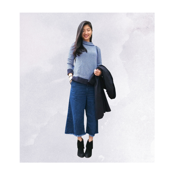 Style Equation: Sweater + Culottes Look 1
