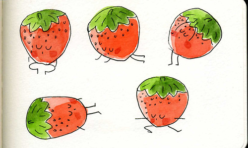 strawberry yoga poseq