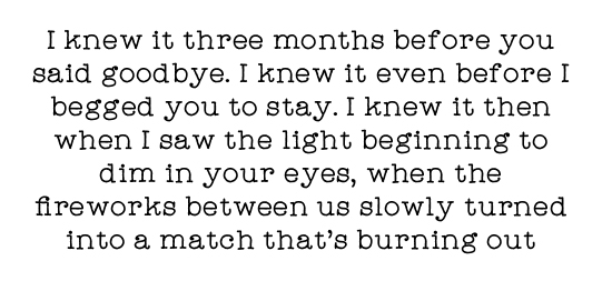 I knew it three months before you said goodbye. I knew it even before I begged you to stay. I knew it then when I saw the light beginning to dim in your eyes, when the fireworks between us slowly turned into a match that's burning out