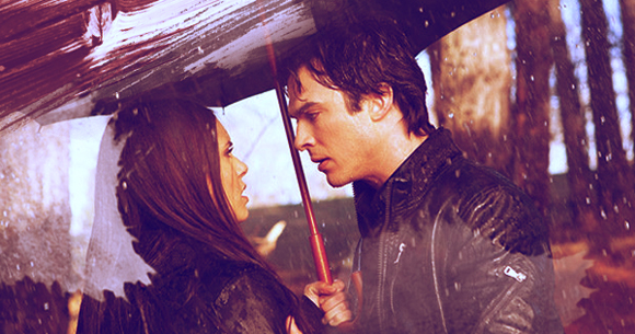 Nina Dobrev and Ian Somerhalder on The Vampire Diaries