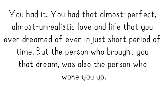 You had it. You had that almost-perfect, almost-unrealistic love and life that you ever dreamed of even in just short period of time. But the person who brought you that dream, was also the person who woke you up.