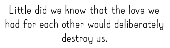 Little did we know that the love we had for each other would deliberately destroy us.