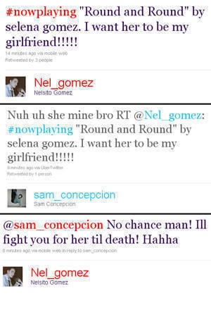 Sam and Nel's tweet exchange