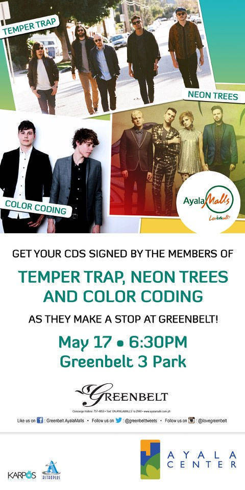 Temper Trap, Neon Trees, and Colour Coding at the Ayala Malls