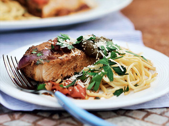 Pan-roasted Pork Loin with Red Onions and Roasted Peppers in Red Wine Vinegar Sauce on Spaghetti