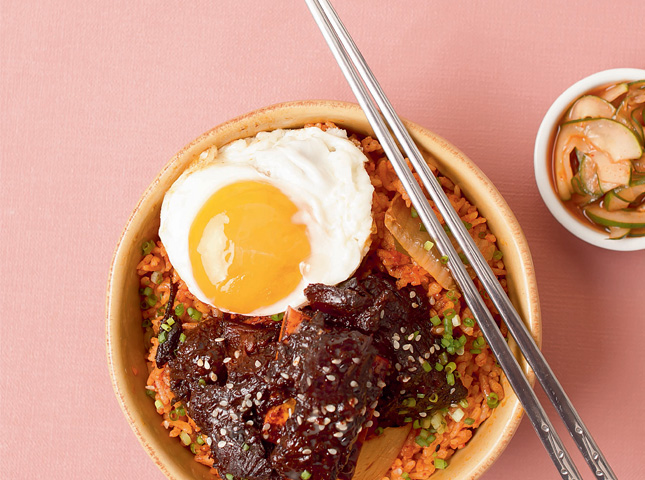 Beef Short Ribs with Kimchi Rice