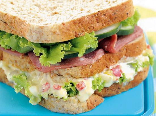Double Decker Ham and Egg Sandwich