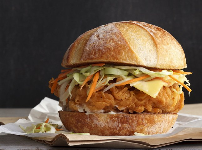 Crispy Chicken Burger with Cabbage-Cucumber Slaw