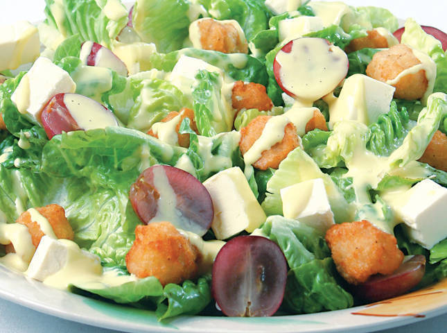 Chicken Pop Salad with Grapes and Cheese