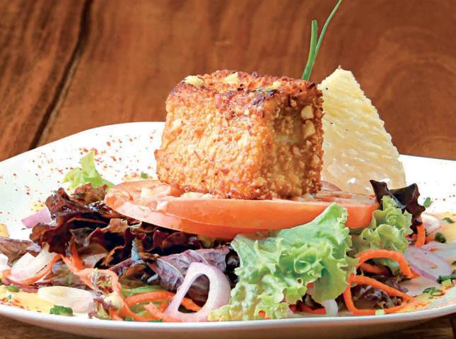 Warm Peanut-Crusted Kesong Puti Salad