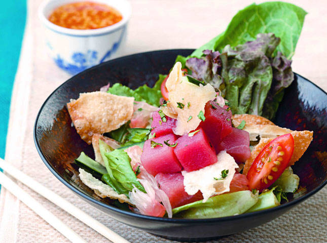 Fresh Tuna Salad with Plum and Sweet Chili Dressing