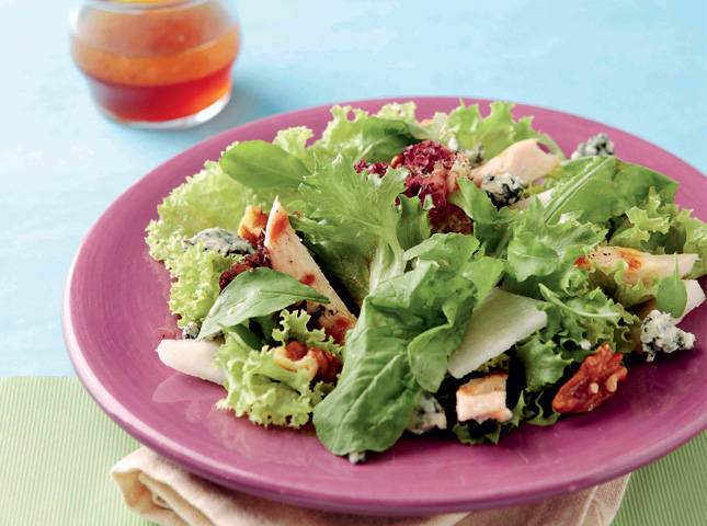 Mixed Greens, Grilled Chicken, and Pear Salad with Honey Vinaigrette