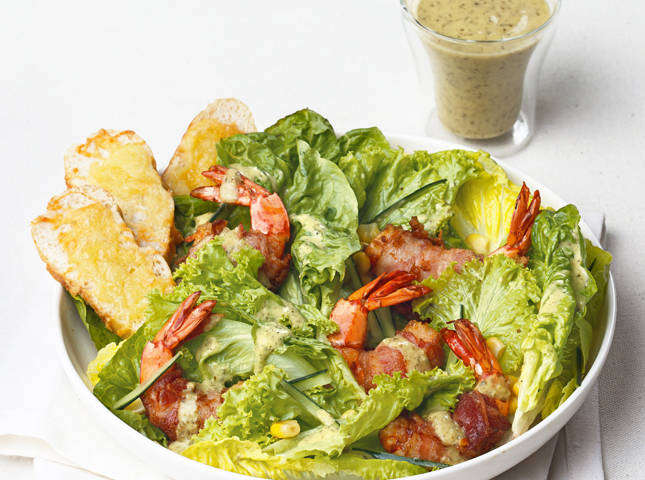 Bacon-wrapped Shrimp Caesar Salad