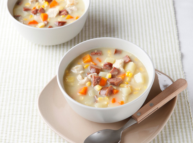 Chicken and Smoky Sausage Corn Chowder