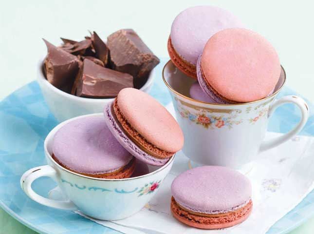 Chocolate Lavender Macarons