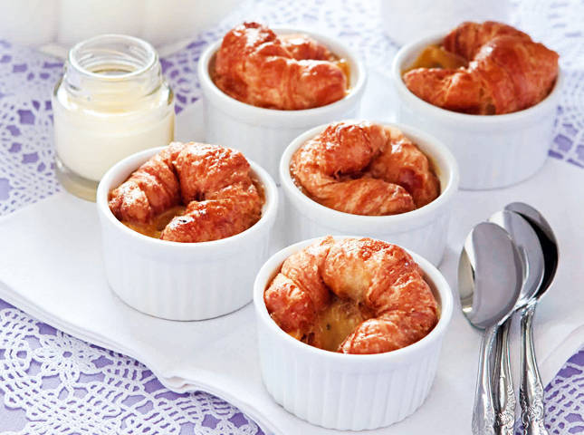 Mini Croissant Pudding with Vanilla Sauce