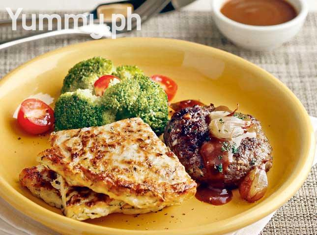 Zucchini Pancakes with Burger Steak