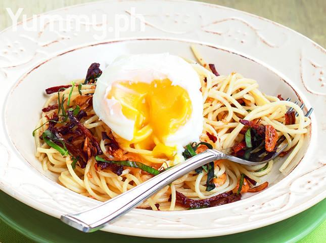 Garlic Pasta with Adobo Flakes and Poached Eggs