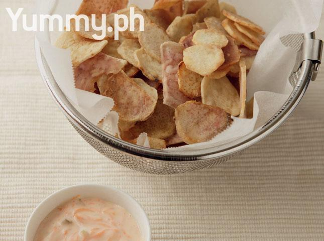 Taro Chips with Mayo Carrot Dip Recipe