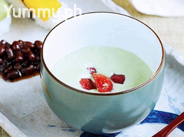 Green Tea Mousse with Red Beans in Syrup