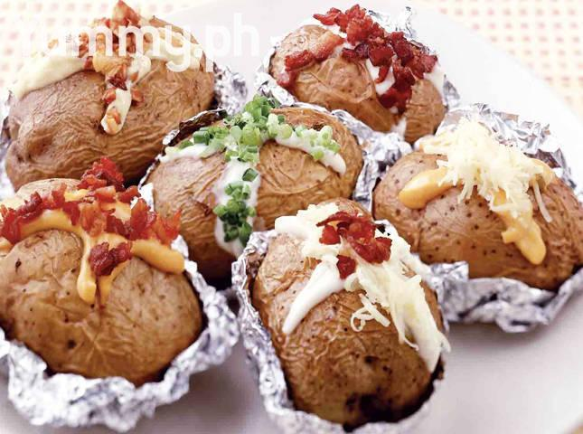 Baked Potatoes with Dips and Toppings