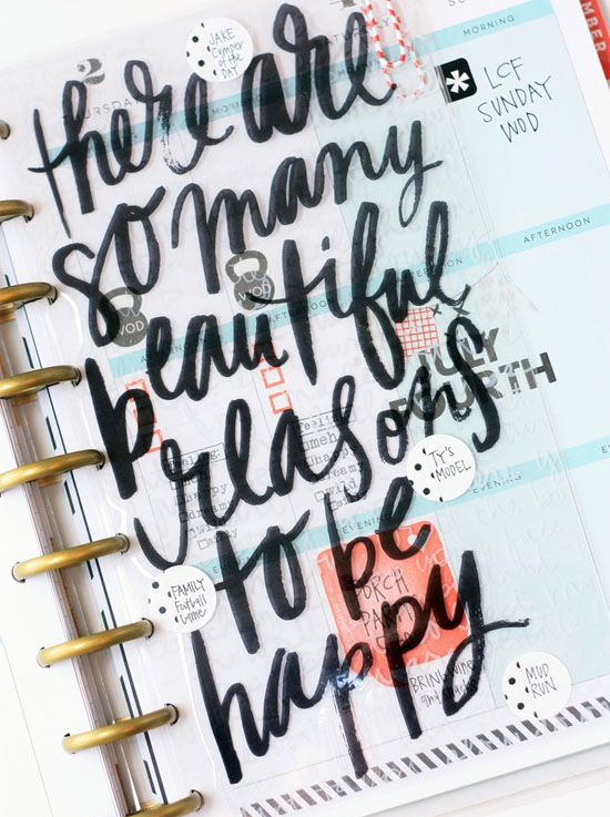 Brush lettering on planner