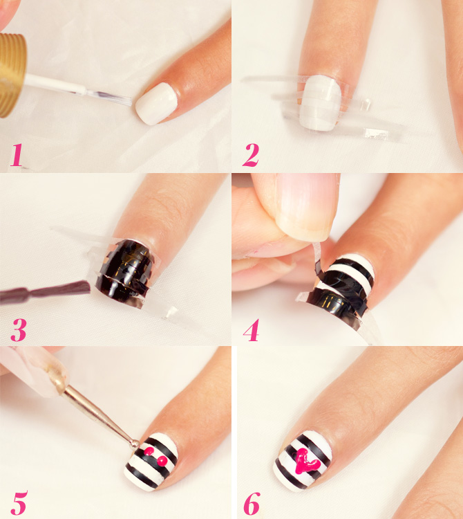 DIY Valentine\'s Day Nail Art: Hearts and Stripes | Cosmo.ph