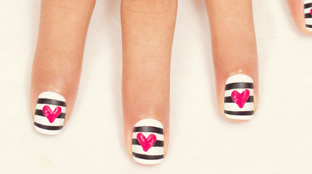Diy Valentines Day Nail Art Hearts And Stripes Cosmo