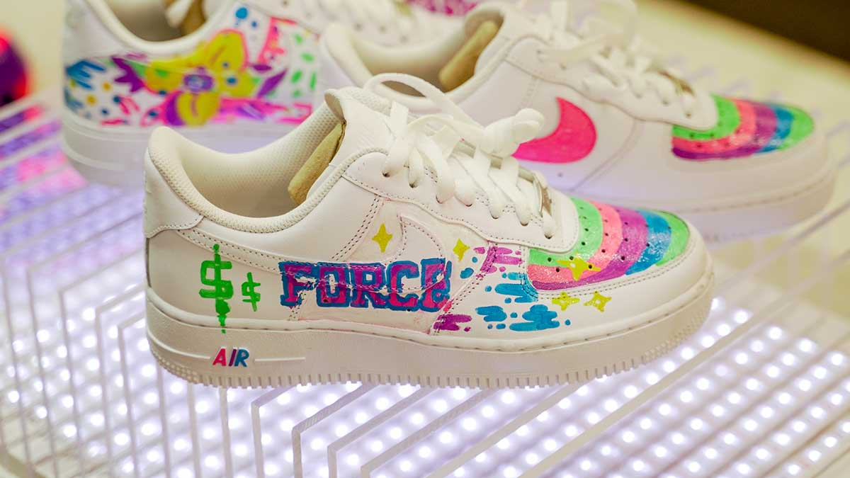 This is a photo of Inventive Drawing Of Air Force 1s Shoes