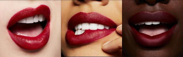 The MAC Maker @MaineDCM Lipstick on light, medium, and dark skin tones.