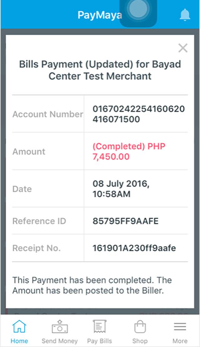 Screenshot of the PayMaya app Bills Payment section.