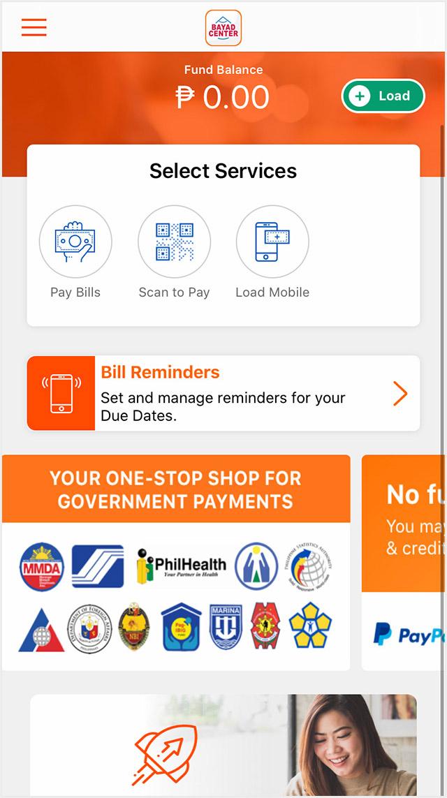 Screenshot of the Bayad Center app homepage.