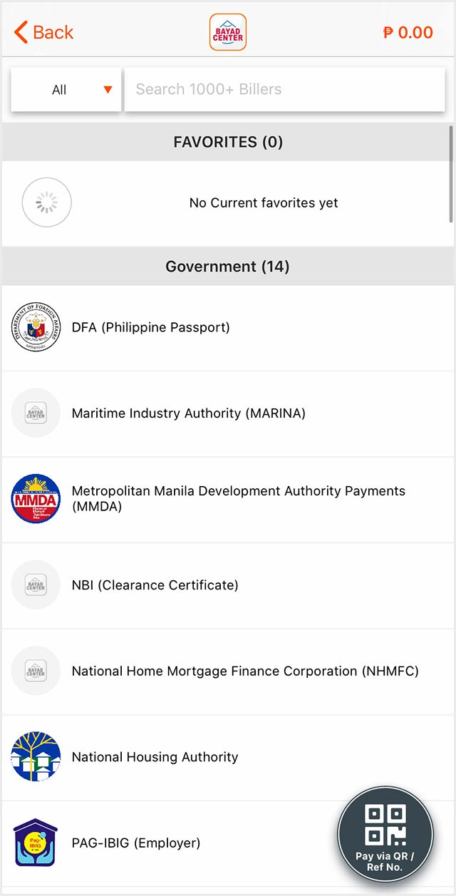Screenshot of several government offices you can settle your bills for within the Bayad Center app.