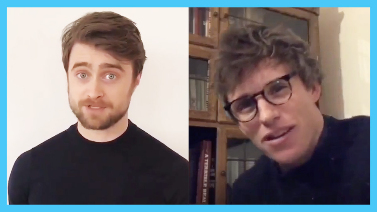 A side-by-side photo of British actors Daniel Radcliffe and Eddie Redmayne.