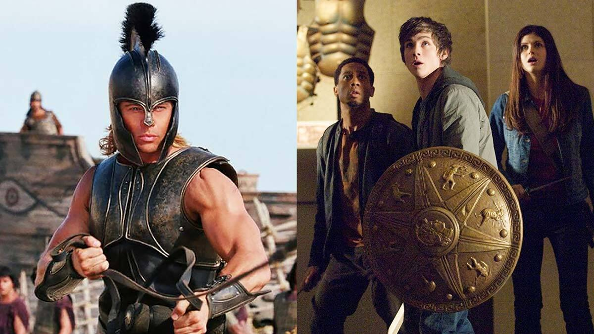 """A side-by-side photo of Brad Pitt playing Achilles in 'Troy' and the main cast of 'Percy Jackson: The Lightning Thief""""."""