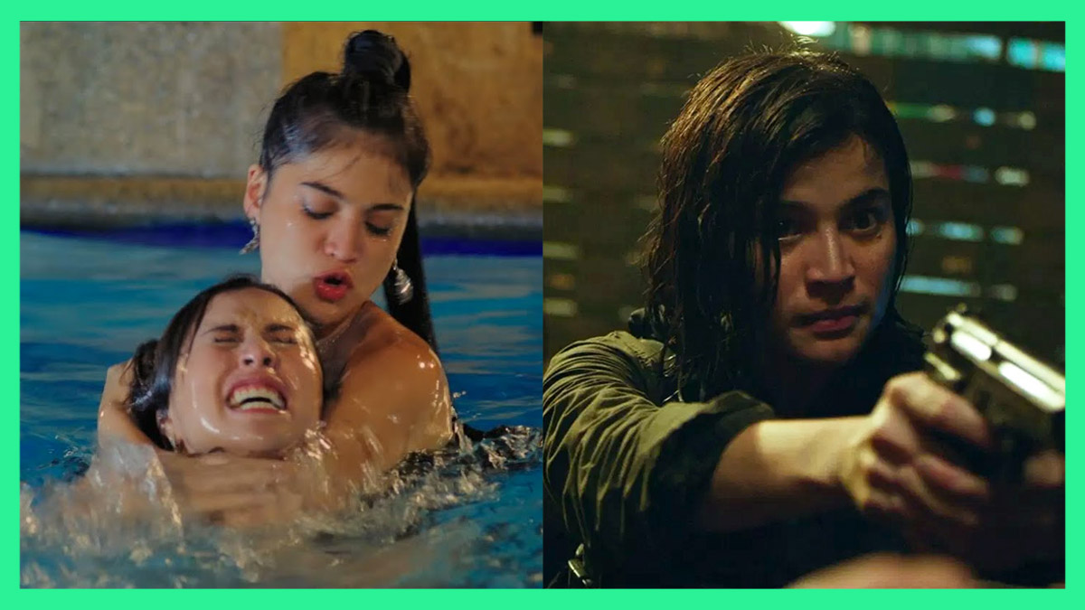 """Side by side movie stills of Anne Curtis' roles in """"The Gifted"""" and """"BuyBust"""""""