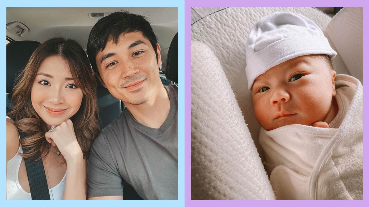 Side-by-side photos of baby Scott Knoa and his parents, Kryz Uy and Slater Young.