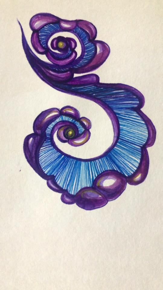 painting of a blue fern design
