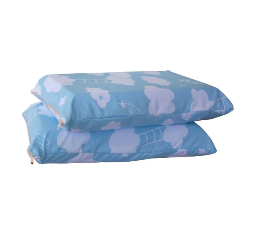 two foam pillows, stacked