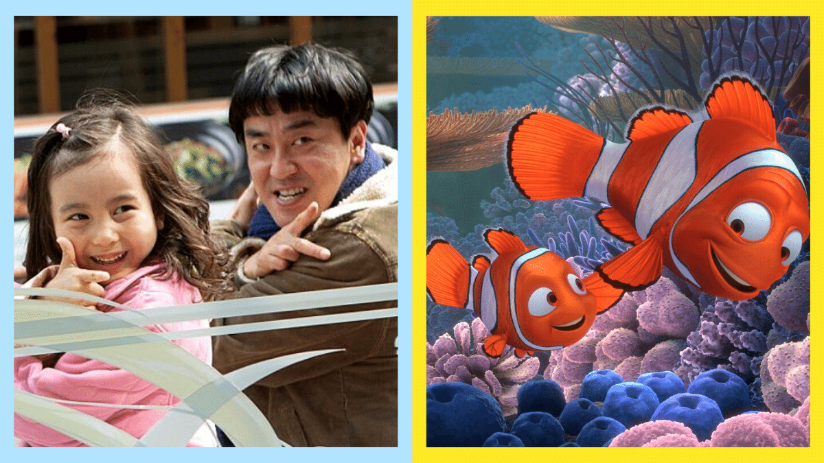 Side-by-side photos of famous movie dads in Miracle in Cell No. 7 and Finding Nemo.
