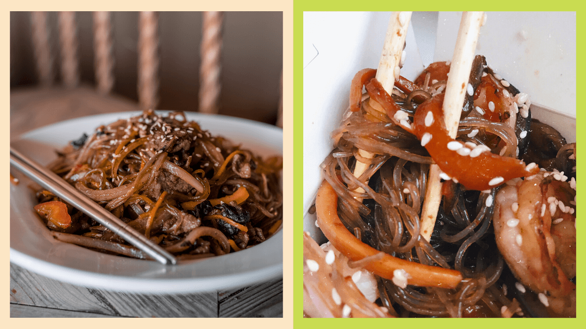 side-by-side photos of japchae