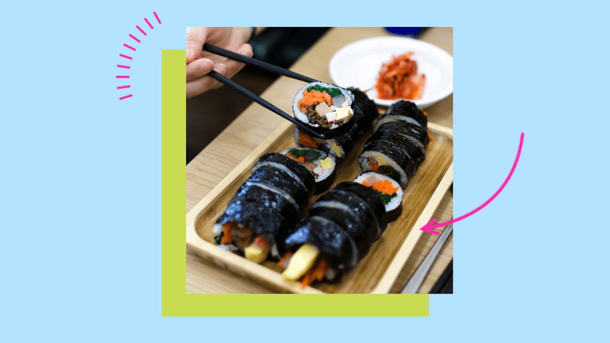 two rolls of kimbap