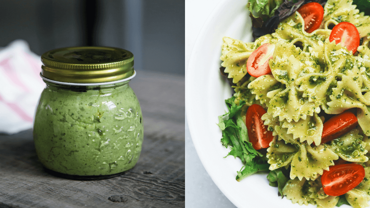 a jar of pesto on the left, and a pesto pasta dish on the right