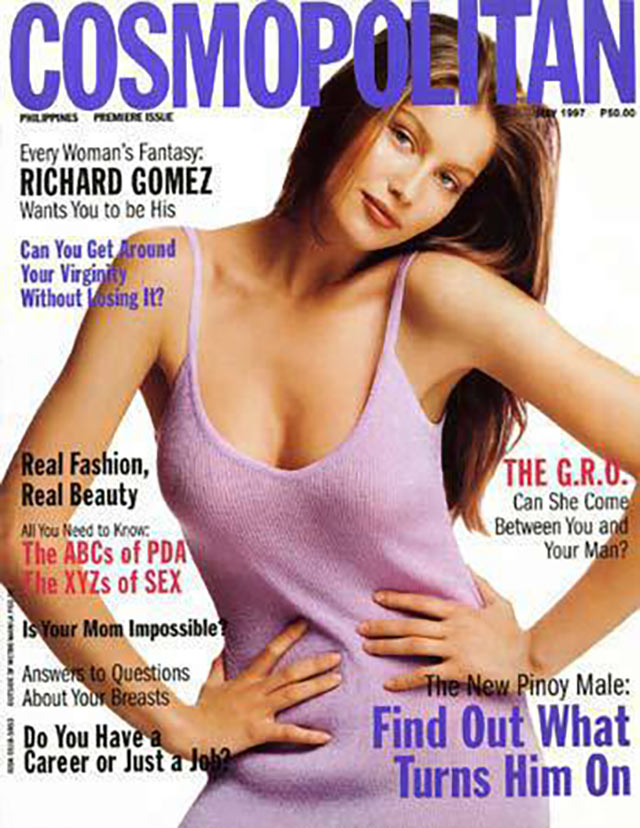 French model and actress Laetitia Casta on the cover of Cosmopolitan Philippines' May 1997 issue.