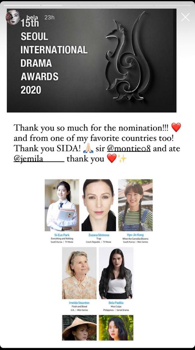 Bela Padilla got nominated in the 15th Seoul International Drama Awards