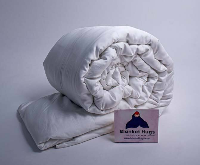 a weighted blanket that's rolled up