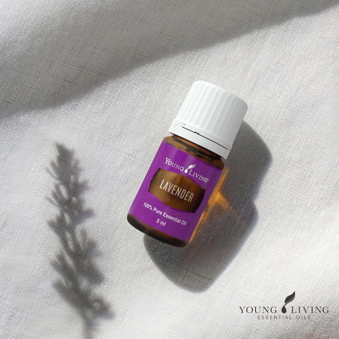 a bottle of lavender essential oil