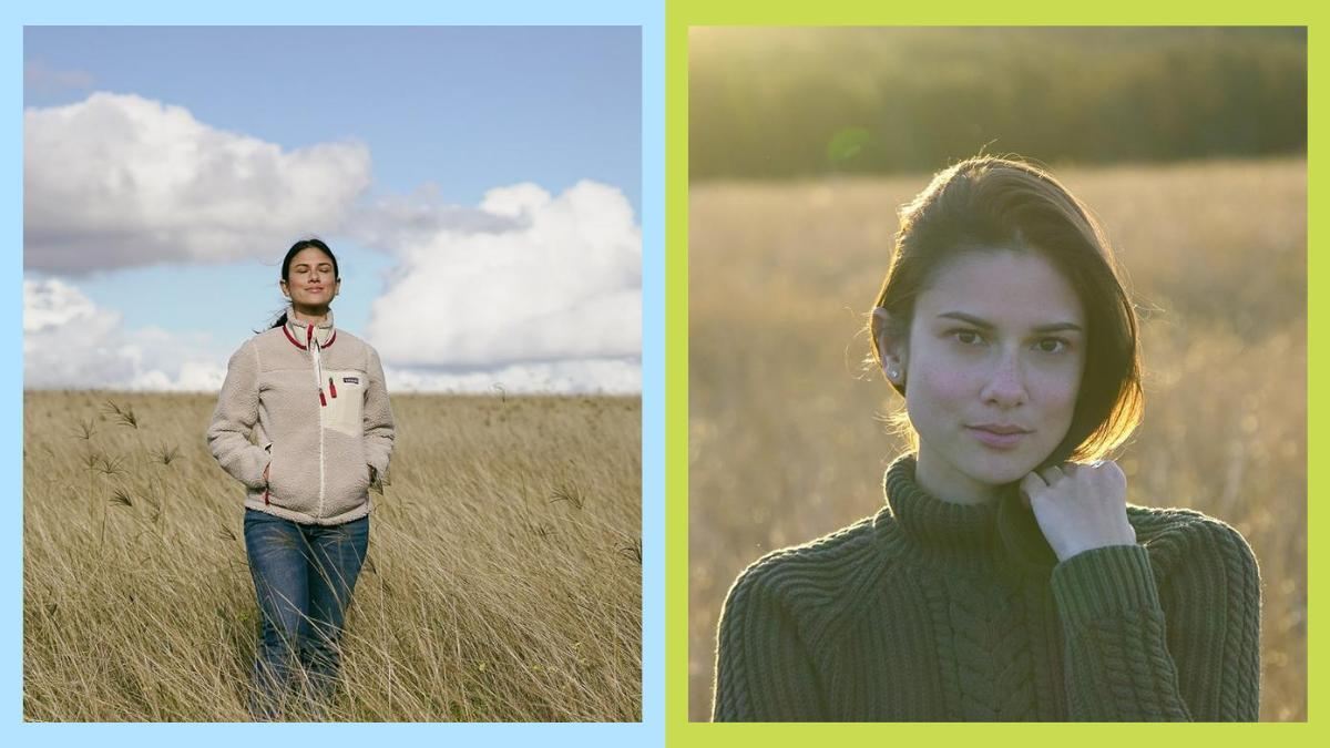 (LEFT) Bianca King standing in the fields. (RIGHT) Closeup shot of Bianca King's face.